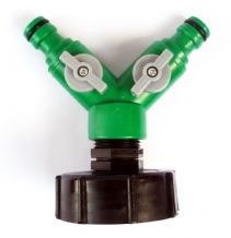 "IBC Aapter toTWIN 1/2"" (13mm) Snap On Hose Fitting with ON/OFF Taps"